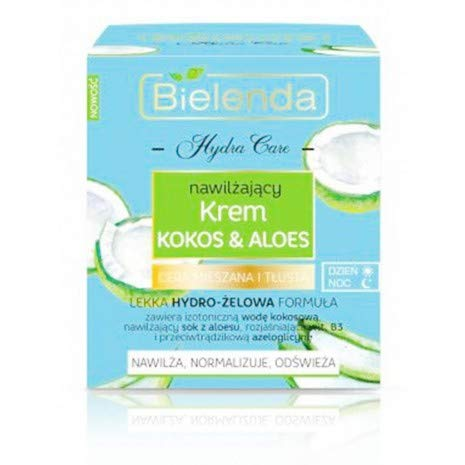 Bielenda Hydra Care Kokosnuss und Aloe Gesichtscreme Tag/Nacht Fettige Haut 50ml -