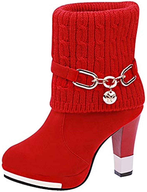 Style Européen Américain, Américain, Américain, Fantaisiez Bottes Femme Talon Haut Boucle de Ceinture Laine Bottines Automne Hiver Chaussures...B07HJ797KVParent b2d3fb