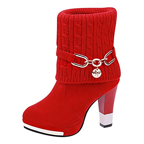 OYSOHE Damen Stiefel Stiefelette Stiletto High Heel Herbst Winter Mode Stiefel(Rot,37.5 EU