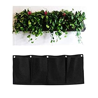 AmgateEu 4 Pockets Wall Hanging Planter Bags Wall-mounted Growing Bags for Indoor/outdoor