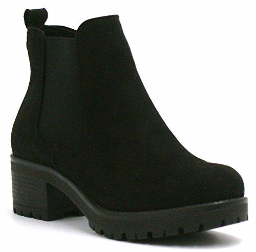 Ladies Womens Mid Heel Block Chunky Platform Chelsea Biker Ankle Boots Shoes...