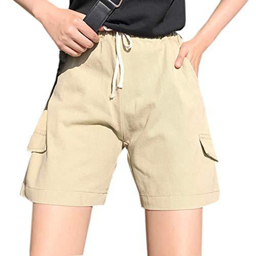 g Sommer Kurzschlüsse Hohe Taille Lose Kurze Hosen Arbeitskleidung Hotpants Overall Taschen Weites Bein Shorts (Gelb,Large) ()