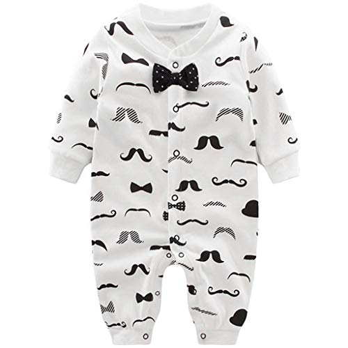 Pyjama Bébé Garçons Combinaisons en Coton Grenouillères Bodys à Manches Longues, 3-6 Mois