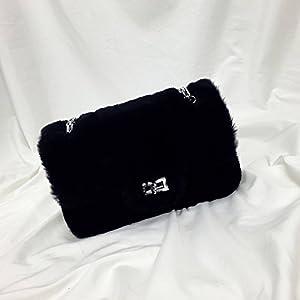 YTTY Lammfell Weibliche Kette Tasche Wilde Sperre Kleine Umhängetasche Messenger Bag, schwarz
