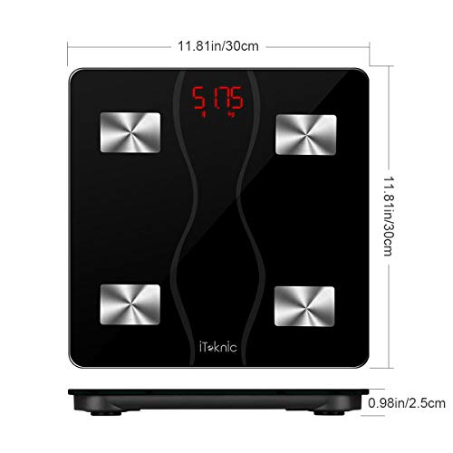 Bilancia Impedenziometrica iTeknic Bilancia Pesa Persona Digitale Massa Grassa Bluetooth Misura Precisa di Peso, Massa Magra, Massa Muscolare, BMI, Massa Ossea per Dispositivi iOS e Android - 7