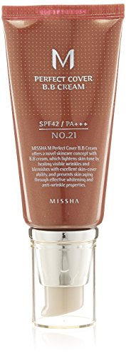 MISSHA M Perfect Cover BB Cream SPF42/PA (No.21/Light Beige) 50ml, 1er Pack