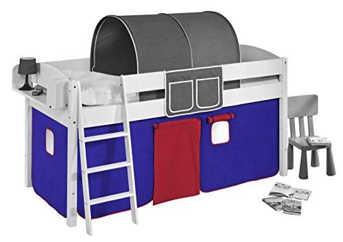 Lilokids Vorhang Blau Rot - für Hochbett, Spielbett und Etagenbett