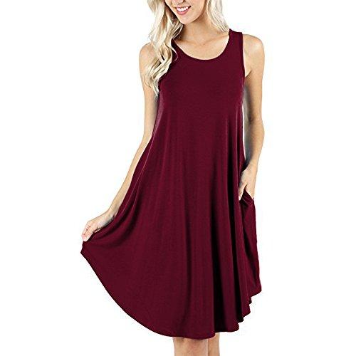 d.Stil Damen Kleid Casual Ärmellos Rundhals mit Taschen Basic Longshirt S-XXXXL (L, Weinrot) -