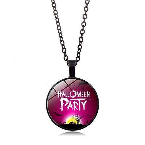 Blisfille Happy Halloween Zeit Edelstein Halskette Mode Anhänger Halskette Pullover Kette Herren Damen Geschenk (Frauen Kostüm Teufel Halloween)