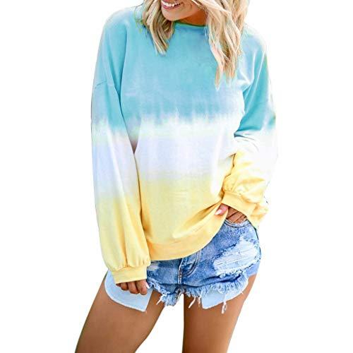 UFODB Damen Sweatshirt Frauen Pullover Langarm Rundhals Pocket Contrast T-Shirts Kapuzenpullover Lang Freizeit Sport Sweater Top Oberteie Winterpullover -
