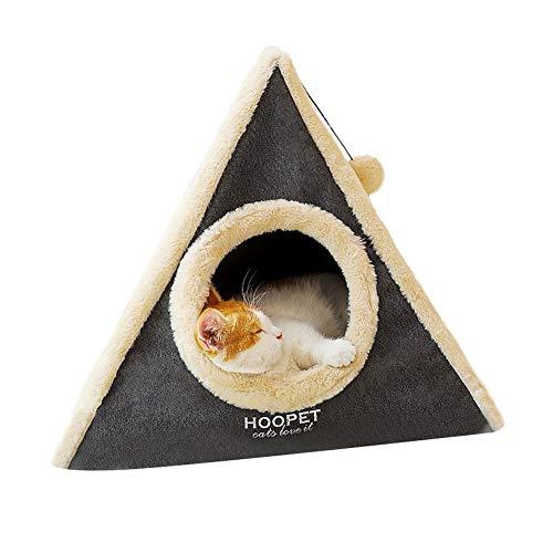 ВMIE Katzentuch Katzenhöhle, Snug Cat Apartment Mit Scratching Board Und Fuzzy Ball Einfach Zu Falten Und Zu Speichern Für Kätzchen Und Kleine Katzen-grau 45x40cm(17x15inch) -