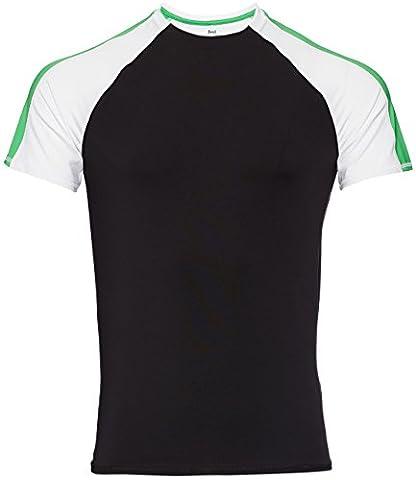 FIND Men's Colour Block T-Shirt, Schwarz (Black/White/Apple Green),