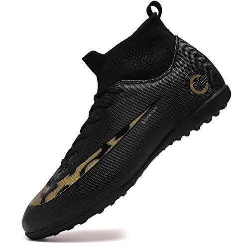 Scarpe da Calcio con Chiodi rotti Sneakers Alte per Adulti Scarpe da Allenamento per Calcio all'aperto Nere 35
