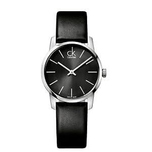 Calvin Klein K2G23107 - Reloj analógico de cuarzo para mujer con correa de piel, color negro de Calvin Klein