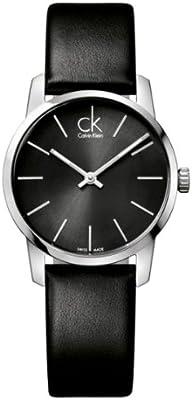 Calvin Klein K2G23107 - Reloj analógico de cuarzo para mujer con correa de piel, color negro
