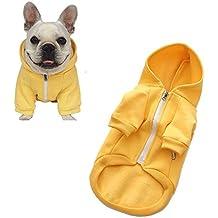 Meiwash Cremallera con capucha Ropa para mascotas Ropa de gato para perros Ropa de mascota linda Abrigo caliente con capucha Bulldog francés(XXL-large, amarillo)
