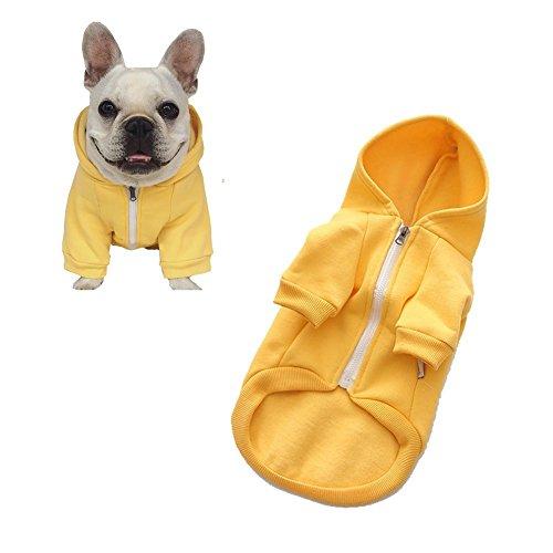 Meiwash Reißverschluss Kapuzen Haustier Kleidung Hund Katze Kleidung niedlichen Haustier Kleidung warme Kapuze französische Bulldogge Pug (XXL-groß, Gelb) (Kleidung Französische Bulldogge)