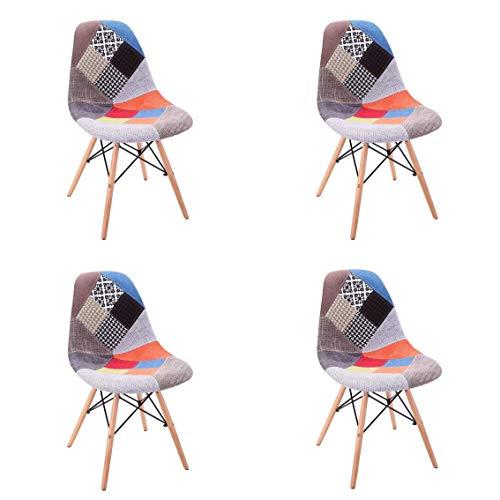 Comfortableplus Set di 4 Sedie da Pranzo Moderne Mid Century Rivestite in Tessuto con Rivestimento Imbottito e Base in Legno; Ideale per Soggiorno, Sala da Pranzo, Bar, Sala D'attesa, ECC. (Rosso)