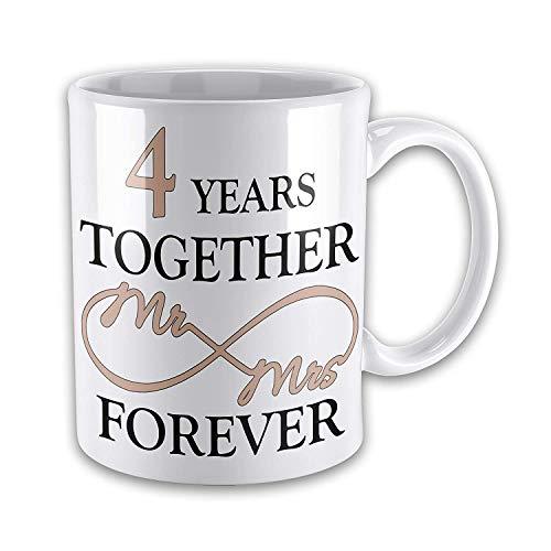 Mr & Mrs Together Forever (4th Linen) Anniversary Novelty Gift Mugs