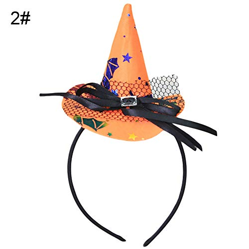 Kostüm Fox Star Cosplay - Cossll498 1Pc Halloween Witch Hat Knot Hairband Hairpin Headpiece Cosplay Party Props - Orange Star