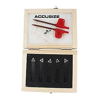 Accusize - 5 Pcs/Set 5/16'' Indexable Carbide Insert Turning Tool Bits, 2380-5042