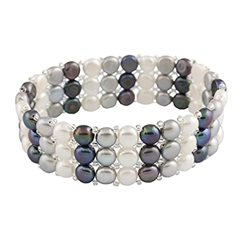Bella Pearls Three Row White, Grey and Black Freshwater Pearl Elastic Bracelet of Length 18 cm