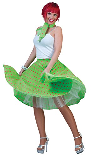 Ladies Sexy 1950s 50s Polka Dot Skirt Hen Do Spotted Spotty Black White Red Blue Green Yellow Pink Fancy Dress Costume Outfit (Green)