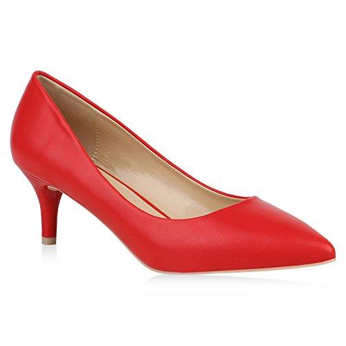 Stiefelparadies Damen Spitze Pumps Basic Leder-Optik Schuhe Stiletto Kitten Heels 152884 Rot 38 | Flandell® (Schuhe Heel Kitten Kleid)