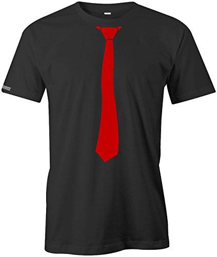 Krawatte - sportlich - style - Herren T-Shirt in Schwarz-Rot by Jayess Gr. M (Männer Und Krawatten Für T-shirt)