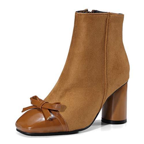 POLLYEDEN Womens Bowknot Ankle Boot Ladies Square Toe Block Heel Side Zipper Short Booties for Autumn Winter Zipper Jump Boot