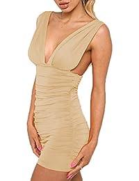 792137629c80 Freestyle Estivo Donna Vestito a Tubino Sexy V Collo Senza Maniche Abito da  Partito Festa Cocktail