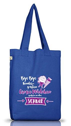 Einschulungsgeschenk Erstklässler Stoffbeutel Earth Positive Bye Bye Kindergarten - Große Mädchen Bright Blue