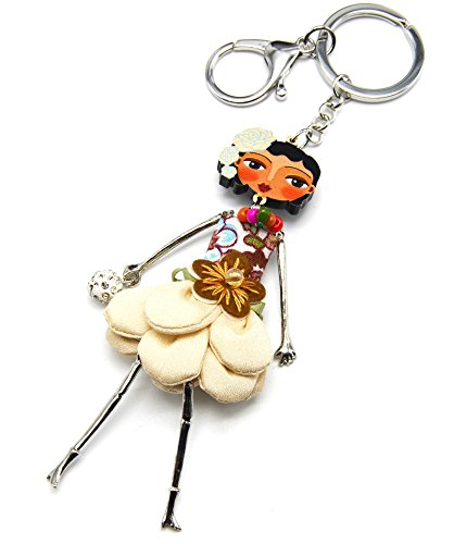 hawaii-style-pt902l-keyring-bag-charm-articulated-doll-dress-with-floral-pattern-and-ruffles-beige-f