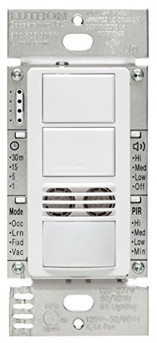 Lutron Maestro Dual Tech Dual Circuit Occupancy Sensor Switch, neutral required, 6 Amp 3-Way/Multi-Location, MS-B202-WH, White by Lutron -