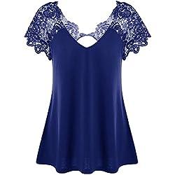 Camisetas Mujer Tallas Grandes, LILICAT Blusas Tops de Encaje Elegante con Cuello en V Sexy Camiseta de Manga Corta de Verano de Moda 2018, Trim Cutwork Camiseta Basicas de Vestir Fiesta (2XL, Azul)