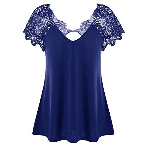Aiserkly Damenmode V-Ausschnitt Plus Size Spitze Kurzarm Trim Cutwork T-Shirt Tops Blau 5XL -