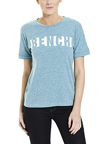 Bench Damen T-Shirt Block Stripe Logo Tee, Türkis (Fanfare Marl Ma1061), Large (Sleeve Long Tee Logo Basic)