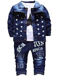 Frühling Baby jogginganzug Hirolan Kleinkind Säugling 3 Stück Ausstattung Kleider Denim Mantel Tops Kinder Jungen Mädchen Beschriftung Lange Hose