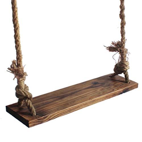 TangMengYun Silla de Cuerda de cáñamo al Aire Libre Columpio de Madera contra la corrosión Adulto Columpio Simple Tablero de Madera Maciza Columpio Familia Niños Jardín (tamaño : 90 * 20 * 3cm)