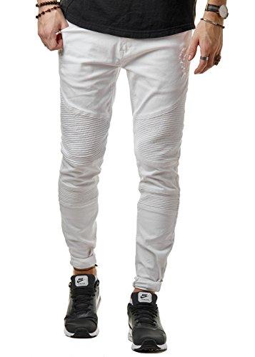 EightyFive Herren Jeans-Hose Denim Slim Fit Zerrissen Schwarz Grau Grün EF1513, Farbe:Weiß, Hosengröße:W28 (Grün Schwarz Grau)