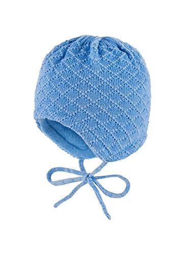 maximo Baby-Jungen Mütze, Ausgenäht, Bindeband, Rhombenstruktur Blau (Robbia Blue 15), 43 cm (Herstellergröße: 43)