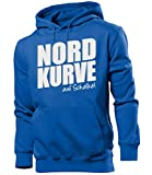 Nordkurve auf Schalke 6355 Fussball Kapuzen Pullover Pulli Fan Artikel Oberteil Geburtstags Geschenk Partner Trikot Look Männer Herren Hoodie Blau L