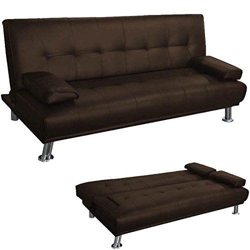 Divano letto ribaltabile 3 posti tessuto ecopelle cuscini laterali soggiorno classico ,moderno e vintage colore testa di moro
