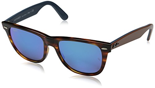 Ray-Ban WAYFARER - STRIPED HAVANA Frame GREY MIRROR BLUE Lenses 54mm Non-Polarized  available at amazon for Rs.19064