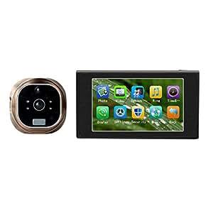 Yarrashop ® 4.7inch GSM Judas optique pour porte Eye 180° HD IR pour appareil photo/vidéo de sonnette carillon GSM appel vidéo à détection de mouvement avec fonction prise de photos et vision nocturne infrarouge-Alarme-Fonction anti-dégâts enregistrement vidéo carte TF