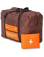 Saco de viaje plegable con un estuche para guardar, equipaje de mano plegable compacto, volumen de 30 l, color naranja y gris