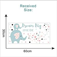 Fagreters 30X60Cm Dream Big Little One Elephants Wall Stickers Cartoon Animal Wall Decals for Kids Rooms Bedroom Living Room Home Decor