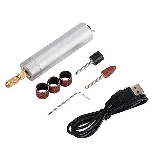Acogedor Taladro eléctrico, USB recargable Mini taladro eléctrico bricolaje pulido pulido máquina de grabado conjunto de herramientas(Pladeado)