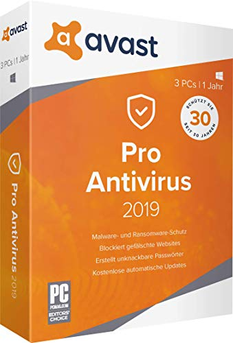 AVAST PRO Antivirus 2019 - 3 PCs / 1 Jahr|2019|3 PCs / 1 Jahr|12 Monate|PC, Laptop|Download|Download