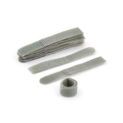 DealMux Nylon détachable Fastener Hook Loop Tie Strap Câble ruban adhésif 10 pièces Grey